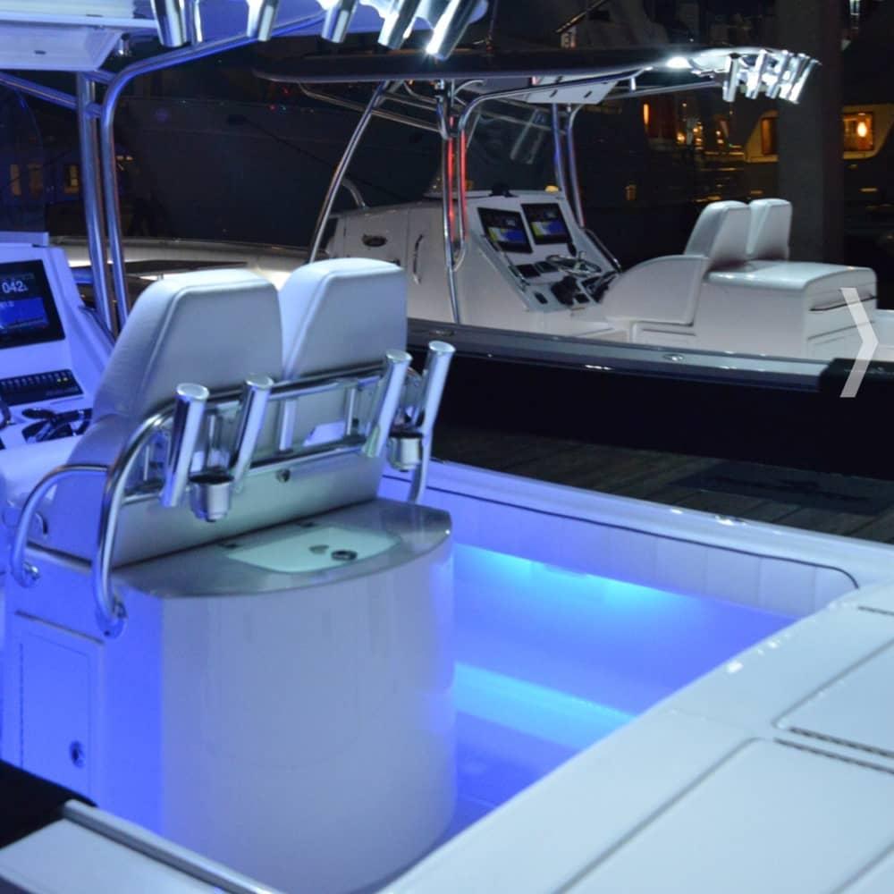 blue under gunnel courtesy lights for boat