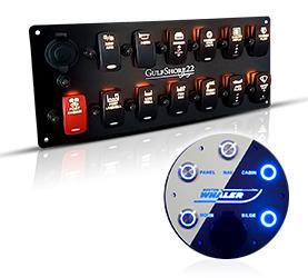 Alician 4 Gang Blue Rocker Toggle Switch Panel
